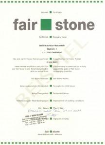 Fair Stone Beispielurkunde